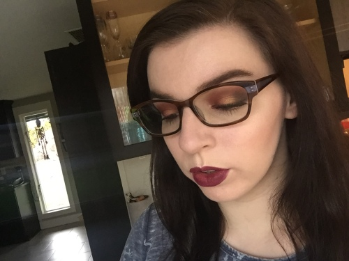 Melt Cosmetics Love Sick eyeshadow stack with Kat Von D liquid lipstick in Exorcism